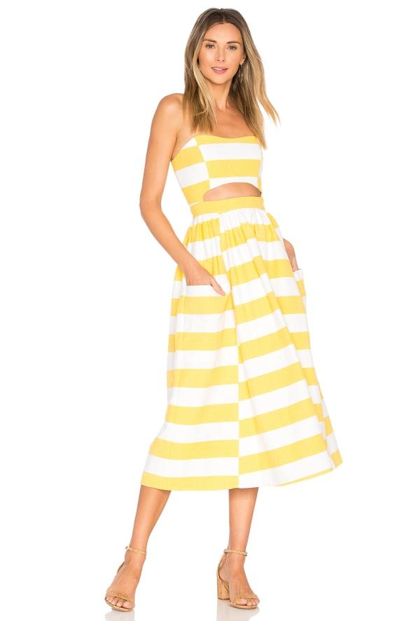 Mara hoffman yellow strip dress