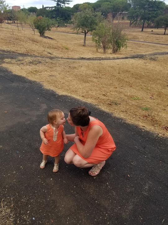 orange dress kiss